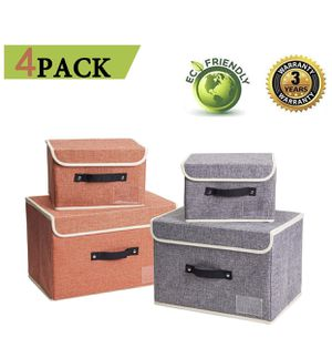 Home 4 Pack Storage Bins Boxes Linen Collapsible Cube Set Organizer Basket with Lid & Handle, Foldable Fabric Containers for Clothes, Toys, Closet, O for Sale in Sandy, UT