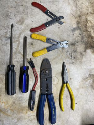 Wire Cutter, Stripper and Crimping tool, 120 volt tester and Screw drivers for Sale in March Air Reserve Base, CA