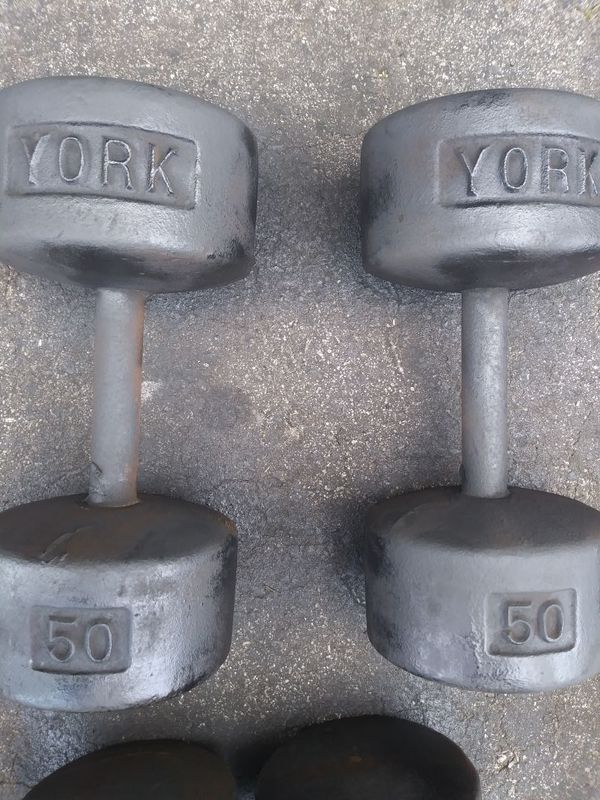 50lb york dumbells
