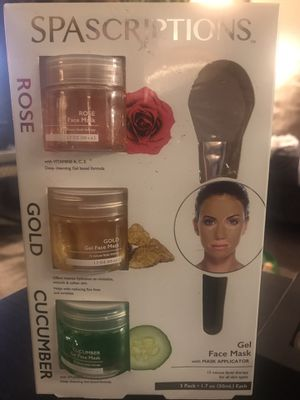 Brand new, still sealed, SPAscriptions brand face mask set. Comes with Rose, Gold, and cucumber mask gels and also a mask applicator. Great gift for for Sale in Portland, OR