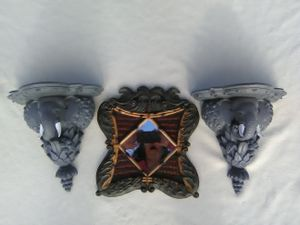 2 small gray elephant wall shelves & safari plaque with mirror for Sale in West Jordan, UT