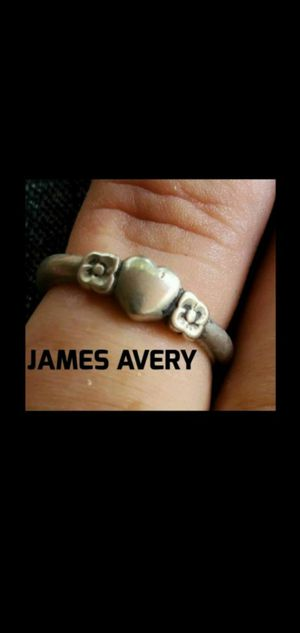 Vintage Retired James Avery Heart with 2 Flowers Ring 925 Sterling Silver Sz 4 for Sale in Round Rock, TX