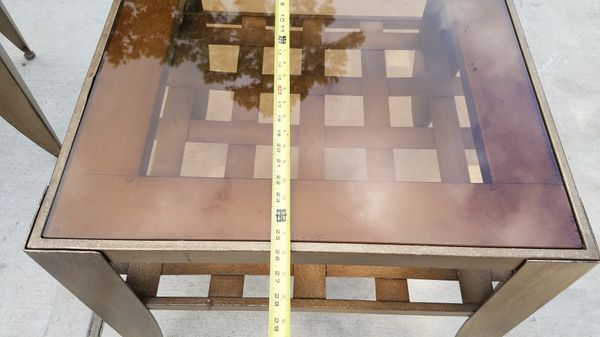 Glass an metal foyer table and end table