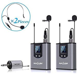 Wireless Lapel Microphone System - Dual Wireless Headset Lavalier Mic for iPhone, DSLR Camera, YouTube, Podcast, Conference, Vlog, Church, Interview, for Sale in Upland, CA