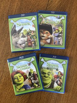 Shrek Blu-ray DVD Complete 4-Film Collection, Disney marvel Harry Potter DC movies Bluray and dvd collectibles for Sale in Everett,  WA