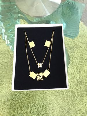 3 in 1 Set of double chains and earrings gold plated for Sale in Columbia, SC