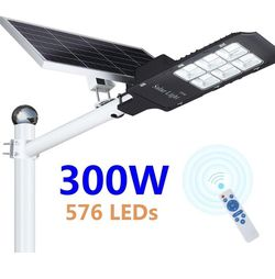 300W LED Solar Street Light, Outdoor Dusk to Dawn Flood Light with Remote Control, Waterproof, Ideal for Parking Lot, Stadium, Yard, Garage and Garden for Sale in Upland, CA