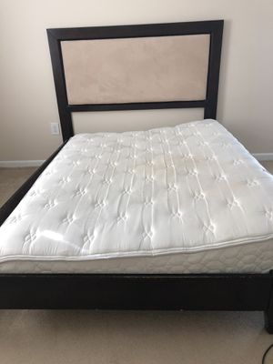 Solid Wood Queen Bed Frame with Padded headboard for Sale in Alexandria, VA