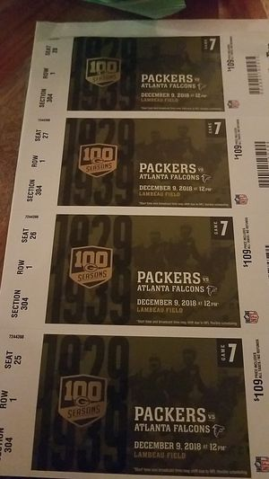 4 Packer tickets! for Sale in Oshkosh, WI