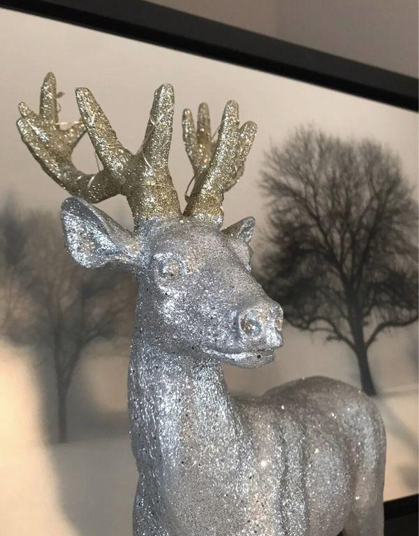 Silver & Gold Glitter Light-Up Reindeer