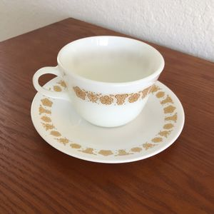 Vintage Pyrex Butterfly Gold Coffee Cup And Saucer for Sale in Davenport, FL