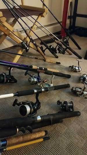 Multiple fishing poles and lures for sale for Sale in Rochester, NY