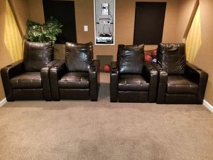 Black leather theater chairs for Sale in Clarksburg, MD