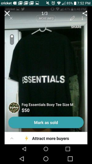 Fog Essentials Boxy Tee Size M for Sale for sale  Bronx, NY