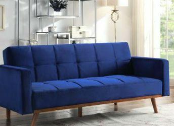 Online Price ‼️🎊🎉 BLUE VELVET Adjustable Sofa Bed/Futon • Delivery • Assembly • FREE 🔥Financing ‼️Same as cash for Sale in Henderson,  NV