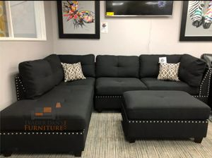 Brand New Black Linen Sectional Sofa Couch + Ottoman for Sale in Alexandria, VA