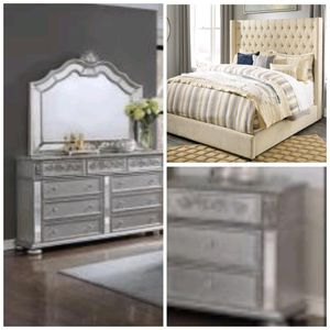 Bedframe, dresser, mirror, nightstand $1499$40 down and take home financing is available a hundred days same as cash price delivery is available for Sale in Richmond, VA