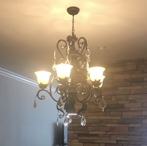 5 Light Oil-Rubbed Bronze Chandelier with Frosted White Glass Shades for Sale in San Ramon, CA