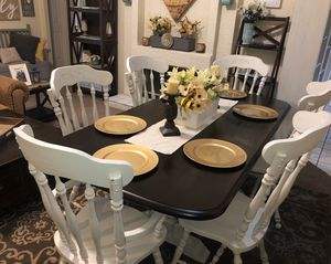 Dining table dinner table kitchen table 6 six chairs wood trestle white distressed farmhouse for Sale in Glendale, AZ