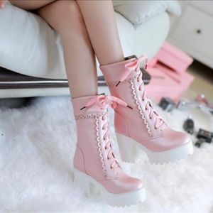 NEW Platform Pink chunky heels mid calf boots for Sale in Seattle, WA