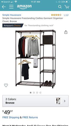 Simple Houseware Freestanding Clothes Garment Organizer Closet, Bronze for Sale in Clovis, CA