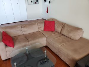 Sectional sofa/couch, light brown microfiber for Sale in Chicago, IL