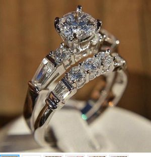 Fashion 925 Silver Wedding Rings Set For Women Round White Sapphire Ring Size 8. for Sale in Aldie, VA