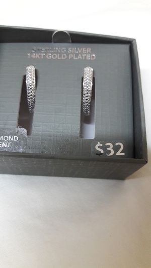 Earring Sterling Silver gold plated diamond accent for Sale in Snellville, GA