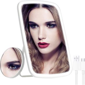 Makeup Mirror with Lights, LED Light Vanity Mirror Makeup x10 Magnification Touchscreen 3 Color Dimmalbe Adjustable Height Desktop Cosmetic Mirror for for Sale in Ontario, CA