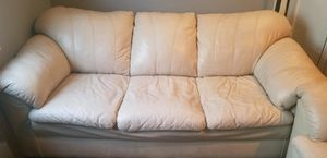 White GENUINE leather couch and love seat set for Sale in Vancouver, WA