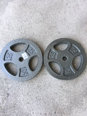 """Standard weights Plates Cast Iron 1"""" holes Weider Weights Pair of 25 pounds for Sale in West Covina, CA"""