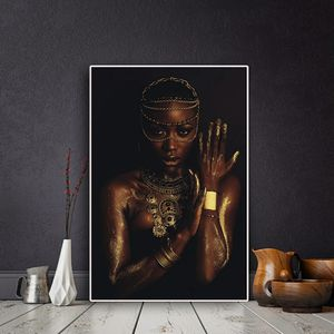 Black and Gold Nude African Woman with Necklace Canvas Painting Posters and Print Scandinavian Wall Art Picture for Living Room 35 height 23 widet for Sale in San Jose, CA