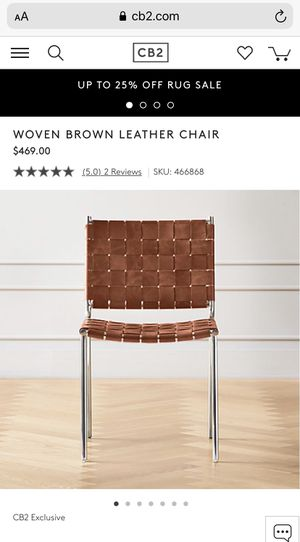 WOVEN BROWN LEATHER CHAIRS (4) for Sale in Riverside, CA