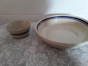 Friendship pottery blue stripe pasta dish and small nesting bowl for Sale in Dixon, CA