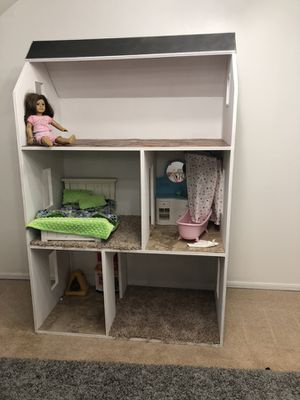 Custom built American Girl dollhouse. 6'H 4'W. Doll and accessories not included. for Sale in Oklahoma City, OK