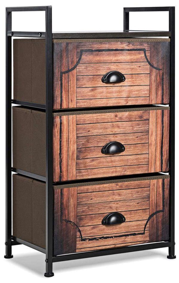 3 Drawer Fabric Dresser Storage Tower