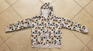 Disney Mickey Mouse Print Front Zip Hoodie Jacket Size M (7-9) White for Sale in Spring Hill, FL
