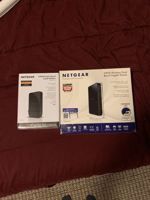 Netgear CM500 High Speed Cable Modem (DOCSIS 3.0) and Netgear N990 Wireless Dual Band Gigabit Router for Sale in Portland, OR