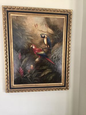 Gold framed parrot painting for Sale in Beaufort, SC