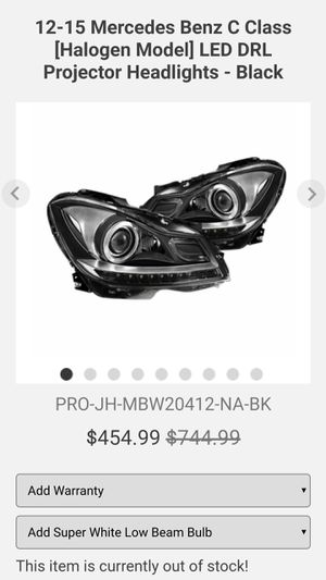 Mercedes Benz C Class Spyder® PRO-JH-MBW20412-NA-BK - Black Factory Style Projector LED Headlights for Sale in Hemet, CA