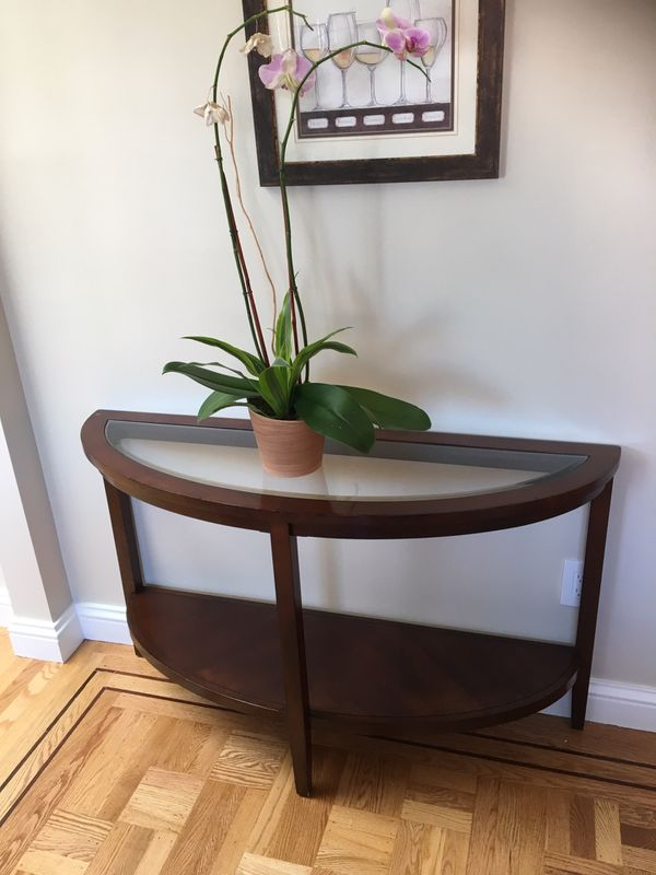 Glass console entry table