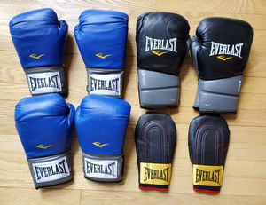 EVERLAST BOXING GLOVES LOT 4 PAIR PRO TRAINING PROTEX GEL 14oz, 12oz, SPEED BAG for Sale in Lisle, IL