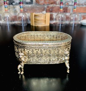 Gold Antique Jewelry Container for Sale in St. Louis, MO