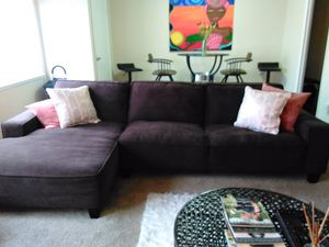 Brown Couch + Storage Ottoman Set for Sale in Silver Spring, MD