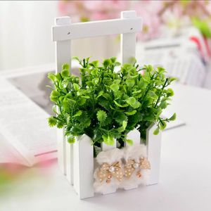 Peppermint Grass + Wooden Fence Mini Potted Plant Plastic Decorative Fake Flowers Bonsai Set for Living Room Garden Decoration for Sale in Des Moines, WA