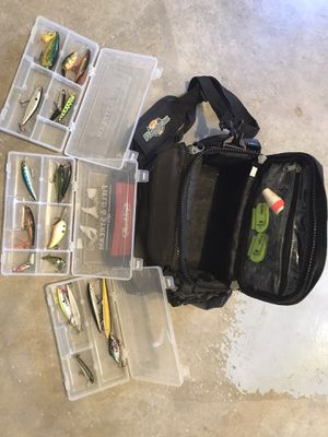Fishing tackle bag with lures for Sale in Clearwater, FL