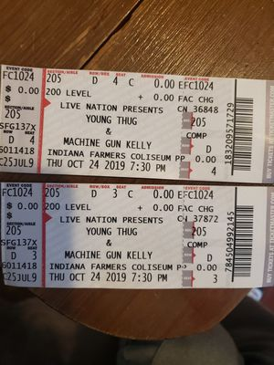 $125 ** 2 tickets to young thug & machine gun kelly** for Sale in Indianapolis, IN