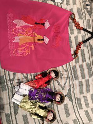 Vietnamese bag and set of 3 folk dolls for Sale in Washington, DC