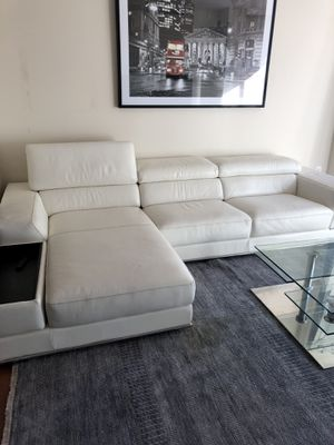 Leather white couch for Sale in Arlington, VA