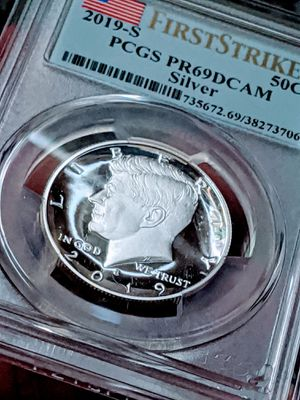 2019 Kennedy .999 Silver 50¢- PCGS PR-69 DCAM/1st Strike/Flag Label *HI-COLLECTOR PC* for Sale in Pittsfield, MA